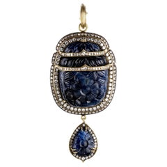 Carved Burmese Sapphire Scarab Pendant in 18k Yellow Gold with Diamonds