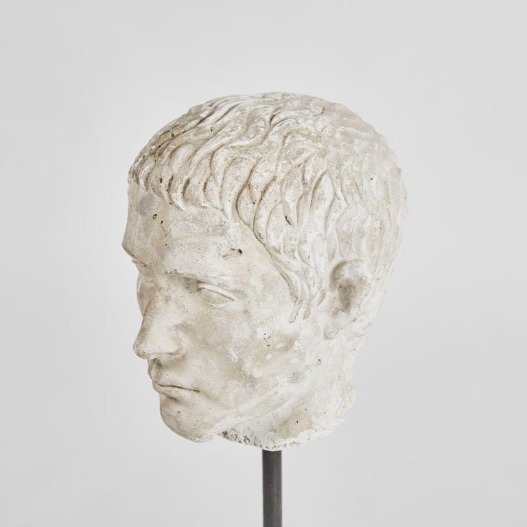 English Carved Bust on Stand in Plaster For Sale