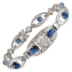 Carved Cabochon Sapphire & Diamond Art Deco Bracelet
