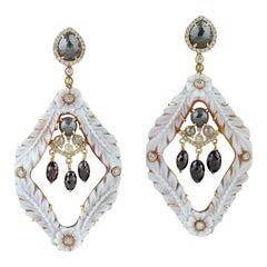 Carved Cameo Diamond 18 Karat Gold Earrings