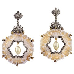 Carved Cameo Diamond 18 Karat Gold Floral Earrings