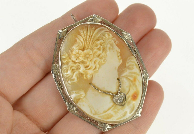 Carved Cameo Diamond Gold Brooch Pendant For Sale 1
