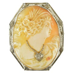 Carved Cameo Diamond Gold Brooch Pendant