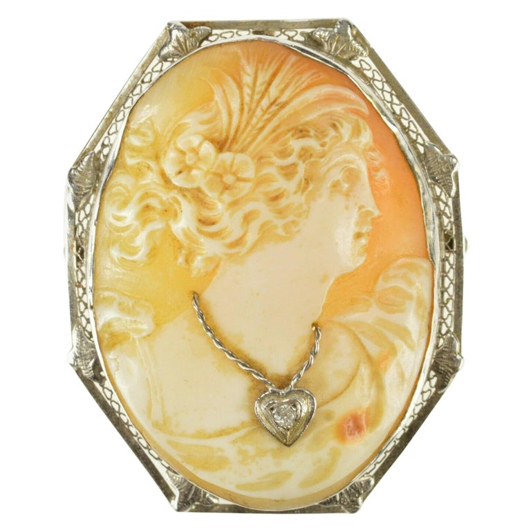 Carved Cameo Diamond Gold Brooch Pendant For Sale