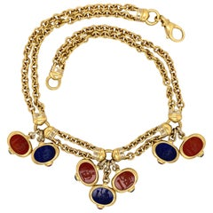 Carved Carnelian and Lapis Lazuli Gold Chain Necklace Estate Fine Jewelry