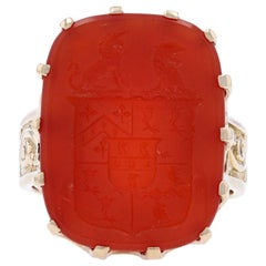Carved Carnelian Coat of Arms Ring, 14 Karat Yellow Gold Unisex