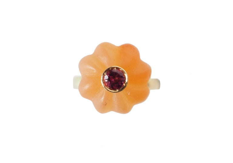 Artist Carved Carnelian  Gold Tourmaline Blu Sapphire Ring For Sale