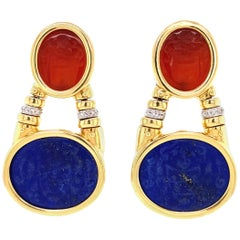 Carved Carnelian Lapis Lazuli and Diamond Dangle Earrings Estate Fine Jewelry