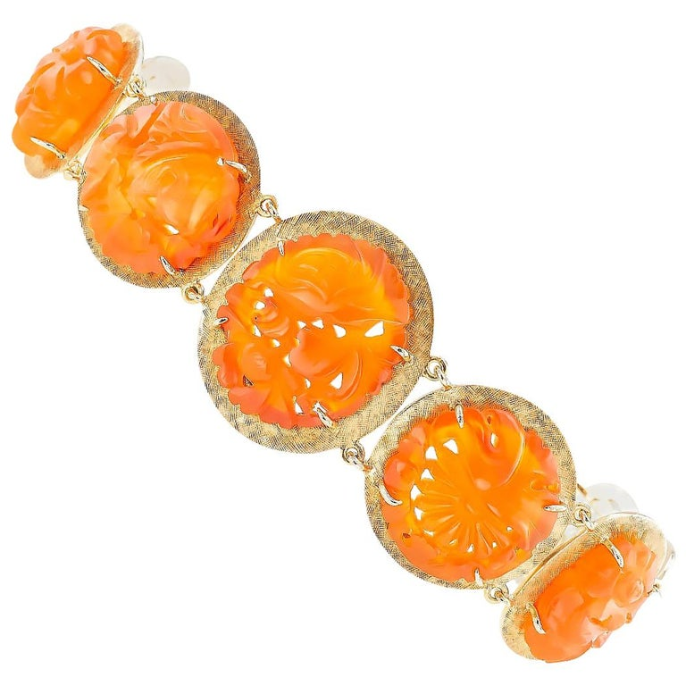 Carved Carnelian Yellow Gold Link Bracelet For Sale
