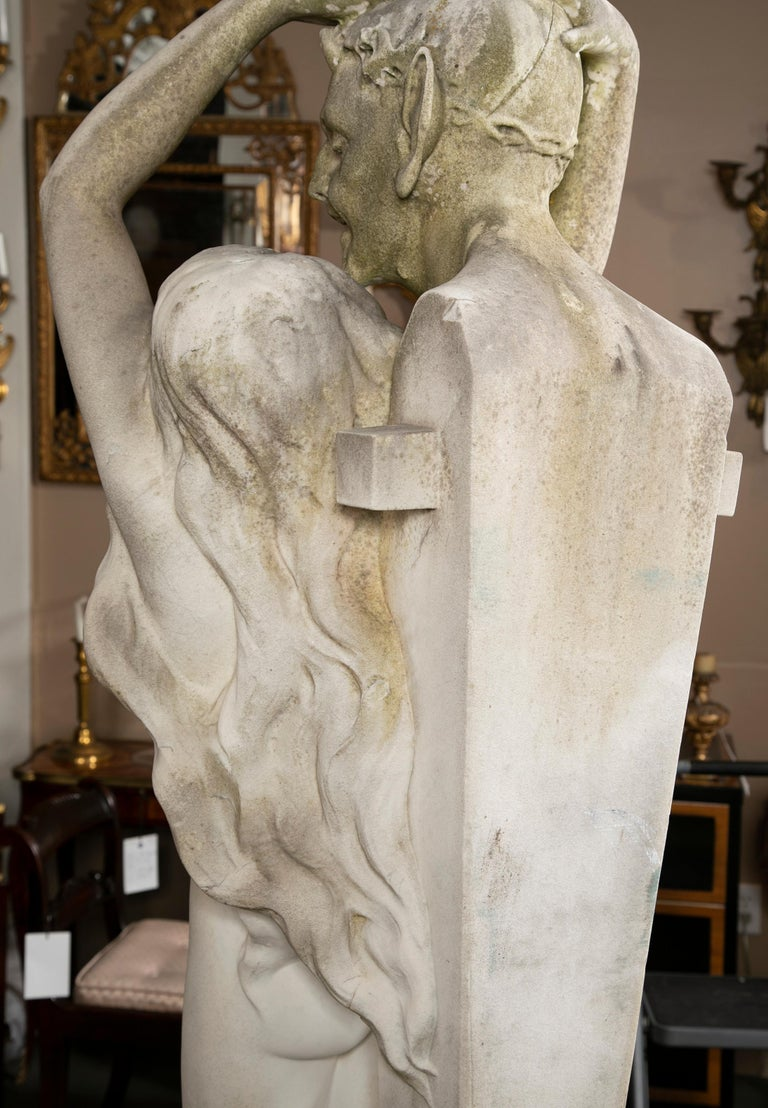 Carved Carrara Marble Statue of a Satyr & Maiden For Sale 6