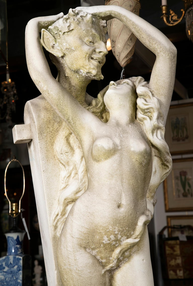 Hand-Carved Carved Carrara Marble Statue of a Satyr & Maiden For Sale