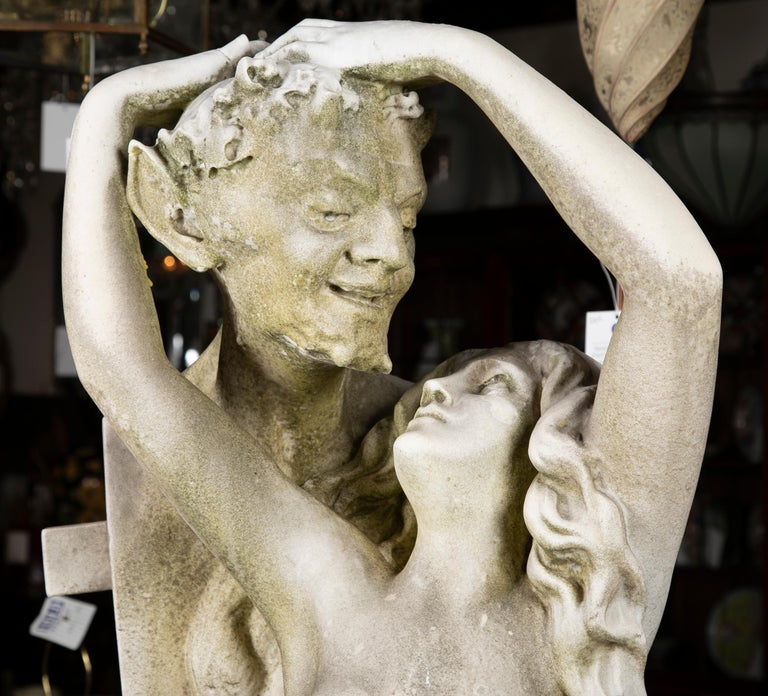Carved Carrara Marble Statue of a Satyr & Maiden In Good Condition For Sale In Stamford, CT