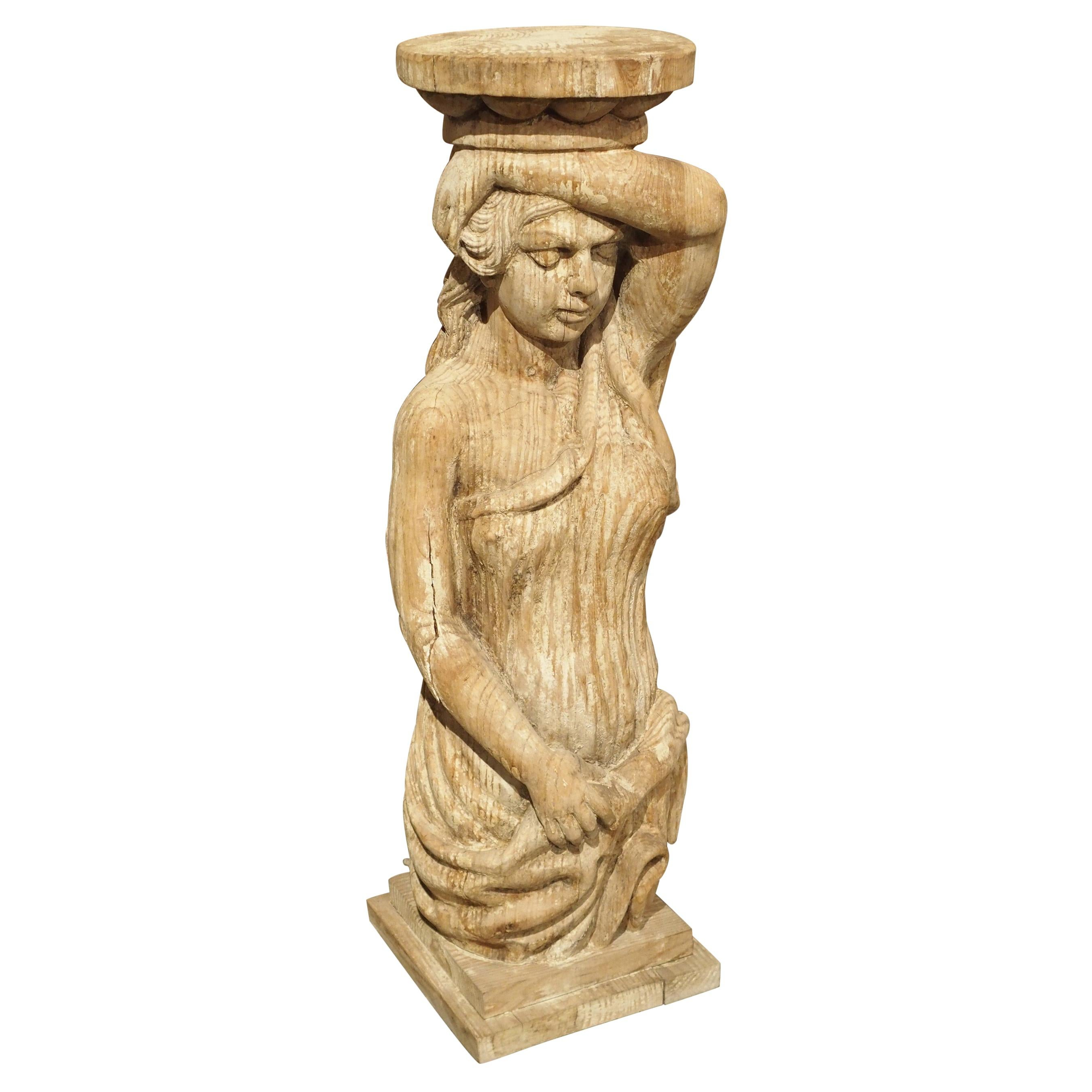 Carved Caryatid Statue or Pedestal, Early 20th Century