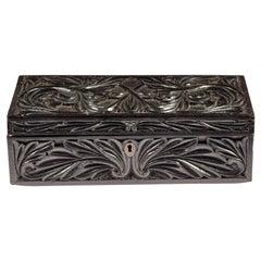 Carved Ceylonese Ebony Box