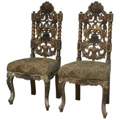 Carved Chairs with New Upholstered Seats, Set of 2