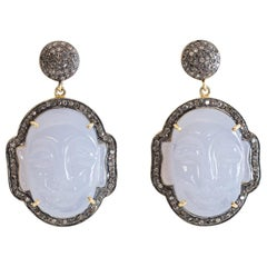 Carved Chalcedony Buddha and Diamond Earrings