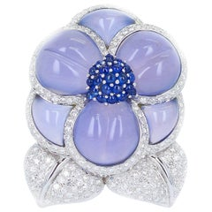 Carved Chalcedony Floral Brooch with Diamonds and Sapphires, White Gold