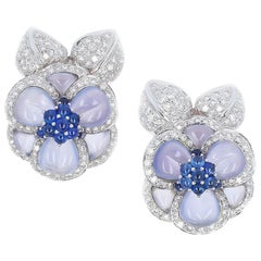 Carved Chalcedony Floral Earrings with Diamonds and Sapphires, White Gold
