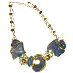 Carved Chalcedony Boulder Opal Necklace Zircon Sapphire Gold 22 Karat 18 Karat