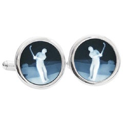 Sterling Silver Hand-Carved Chalcedony Golf Cufflinks