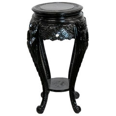 Carved Chinese Black Lacquer Stand