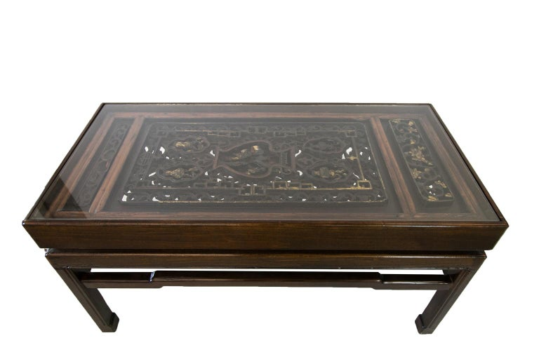 Hand-Carved Carved Chinese Coffee Table For Sale