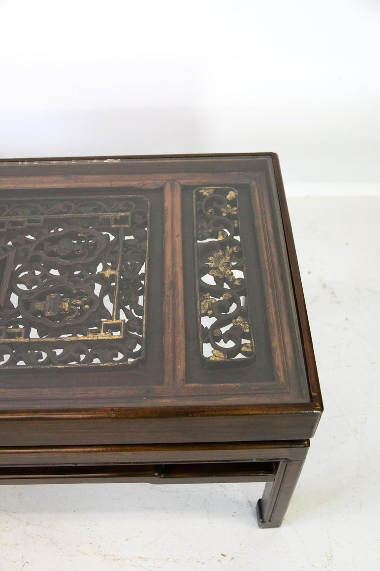 Wood Carved Chinese Coffee Table For Sale