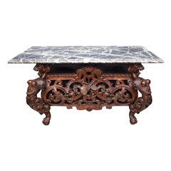 Carved Chinese Figural Coffee Table with Marble Top