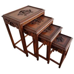 Carved Chinese Nesting Tables, Set of 4