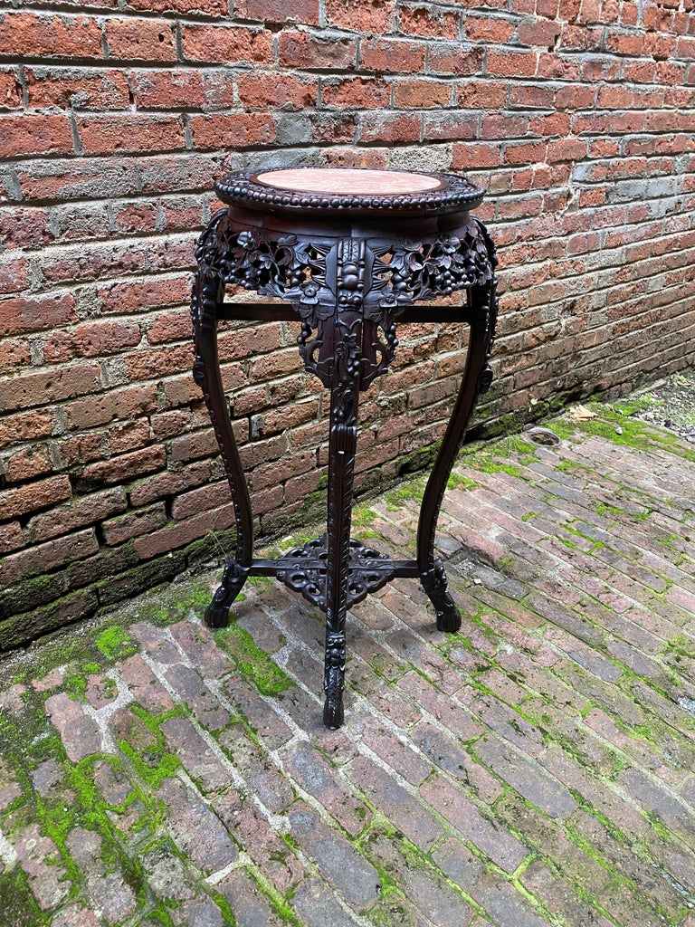 Chinese Export Carved Chinese Rosewood and Pink Marble Stand For Sale