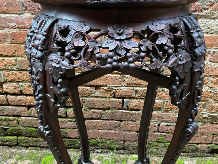 Carved Chinese Rosewood and Pink Marble Stand For Sale 1