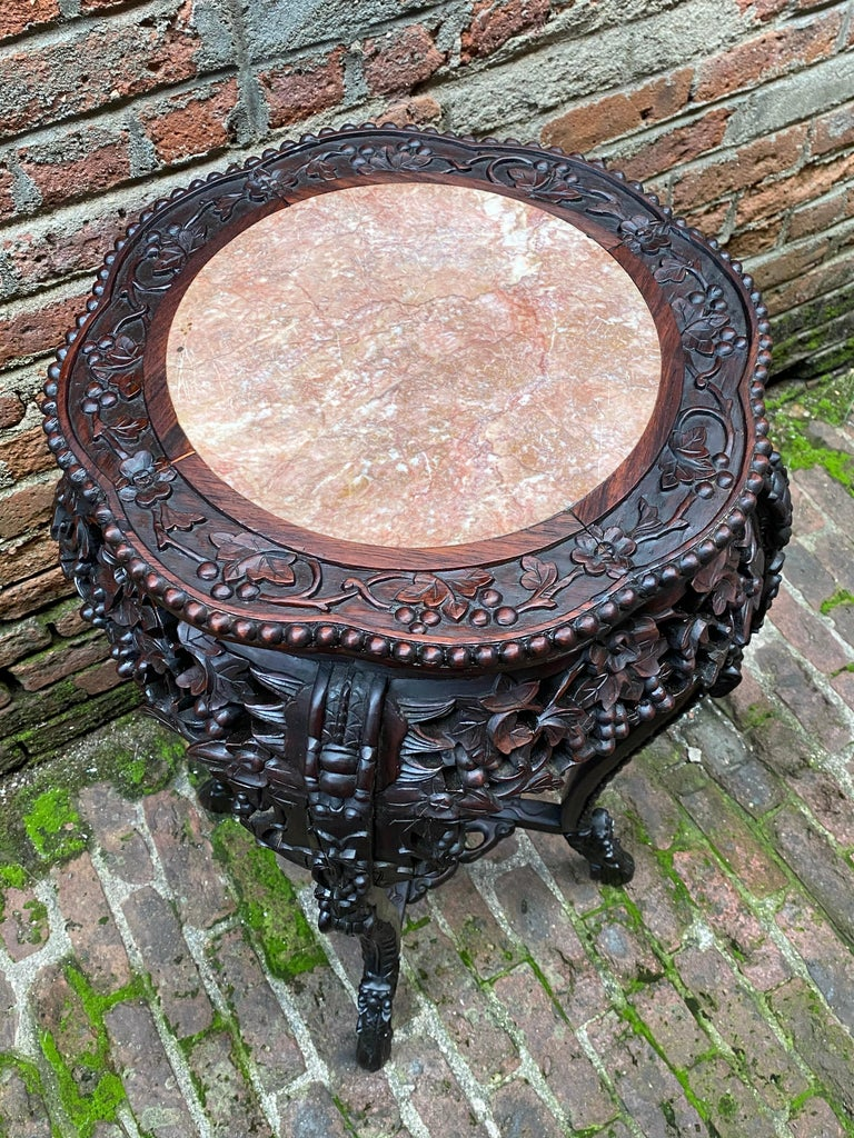Carved Chinese Rosewood and Pink Marble Stand For Sale 2