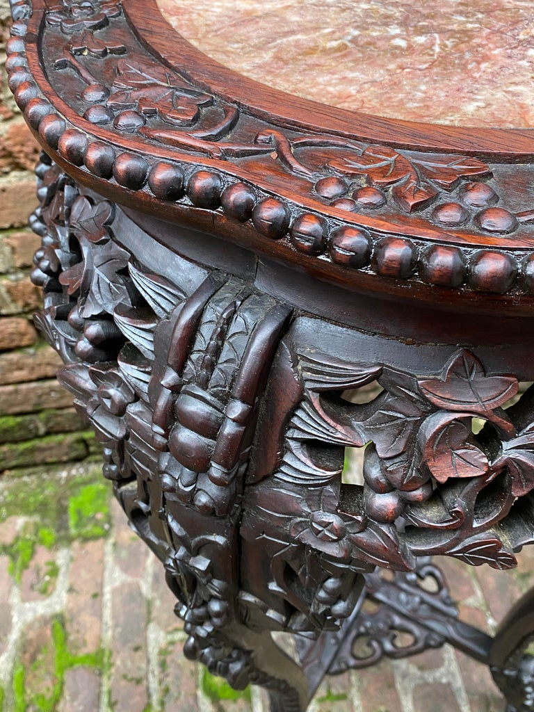 Carved Chinese Rosewood and Pink Marble Stand For Sale 4