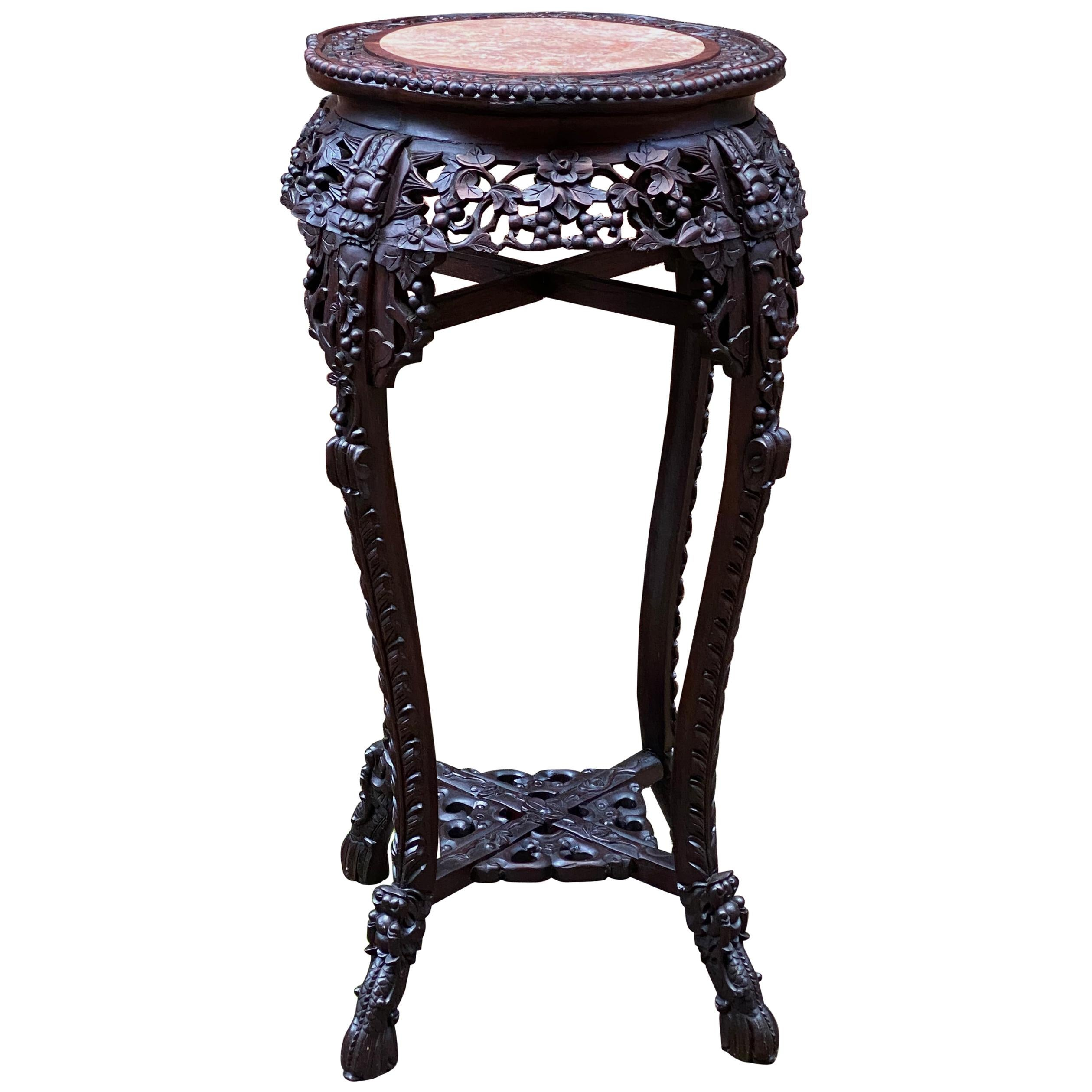 Carved Chinese Rosewood and Pink Marble Stand
