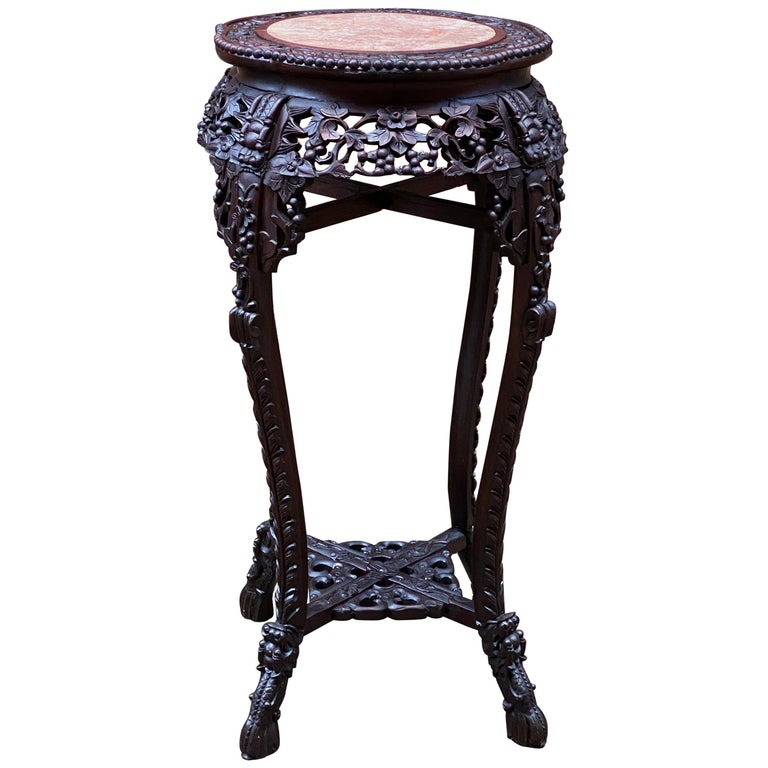 Carved Chinese Rosewood and Pink Marble Stand For Sale