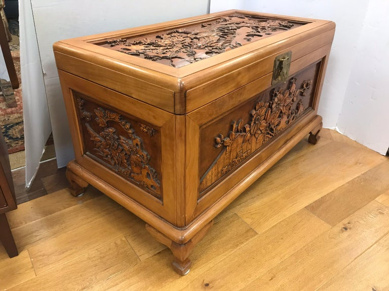 Carved Chinese Trunk Box For Sale 3
