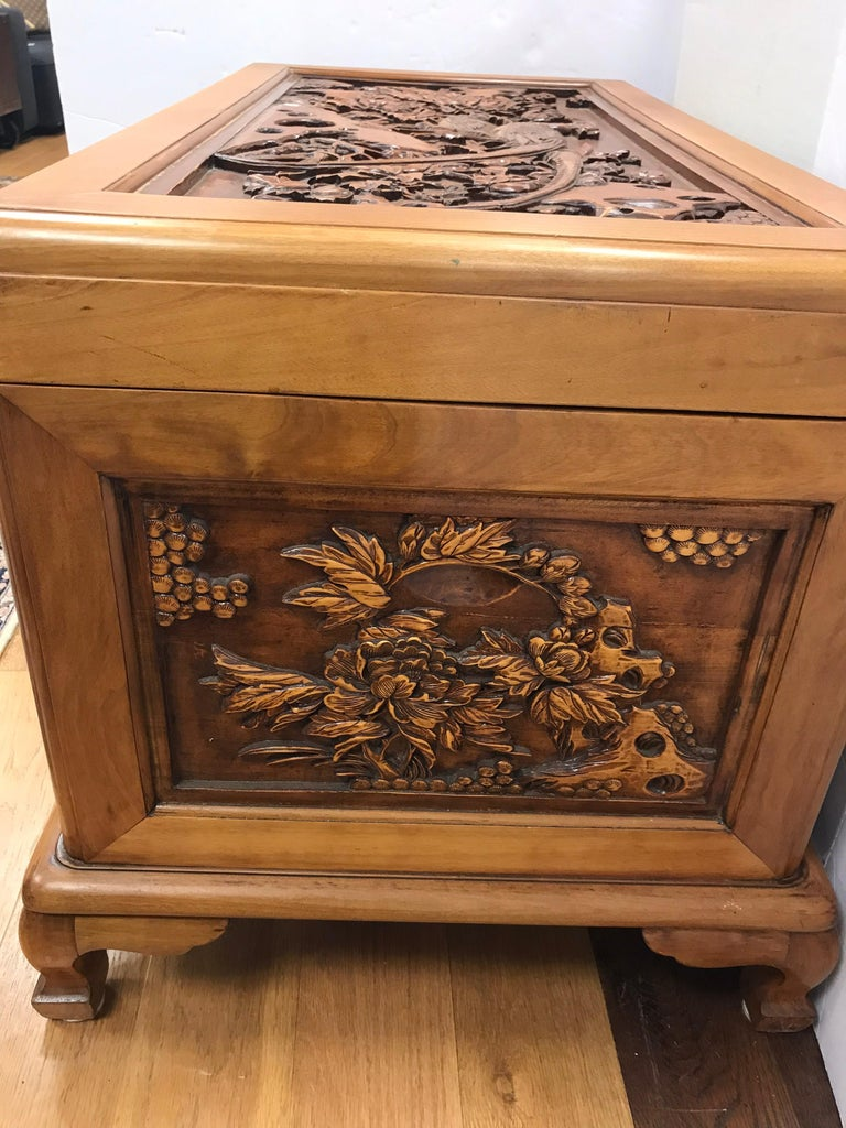 Carved Chinese Trunk Box For Sale 5