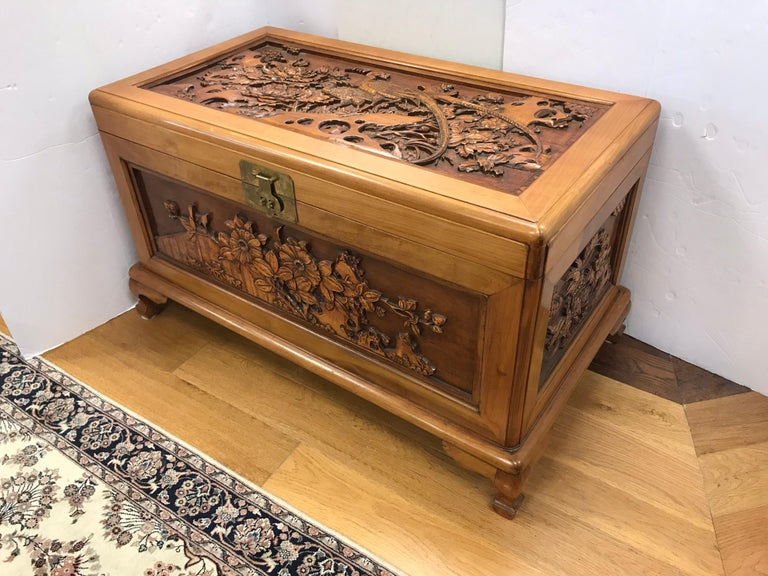 Carved Chinese Trunk Box For Sale 6
