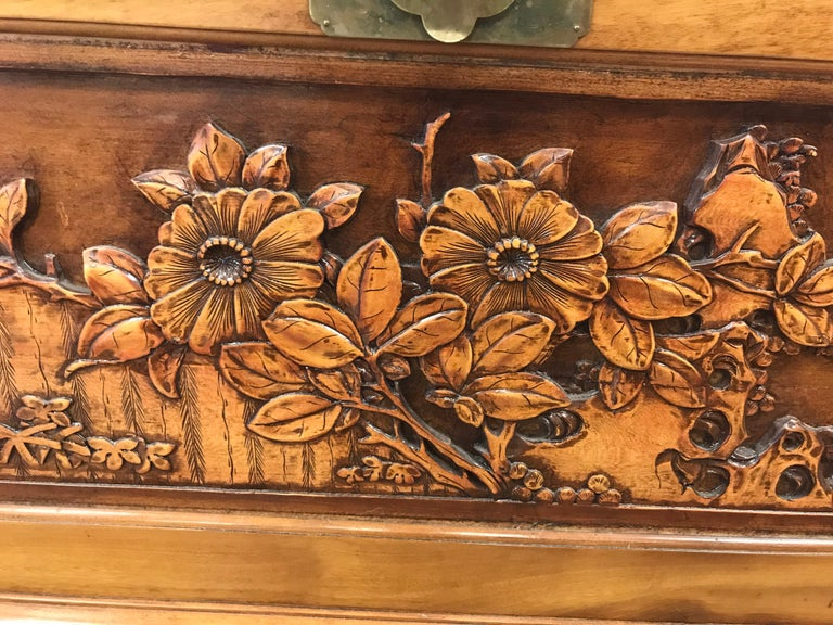 Chinese Export Carved Chinese Trunk Box For Sale