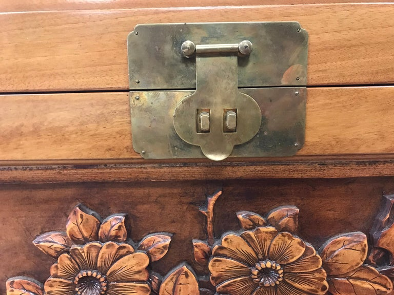 Hand-Carved Carved Chinese Trunk Box For Sale