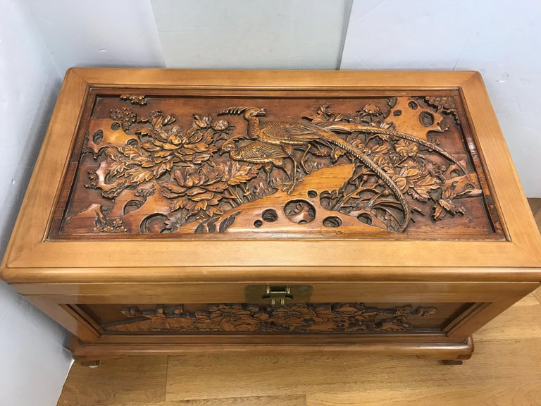 Carved Chinese Trunk Box In Excellent Condition For Sale In West Hartford, CT