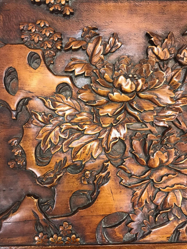 Carved Chinese Trunk Box For Sale 1