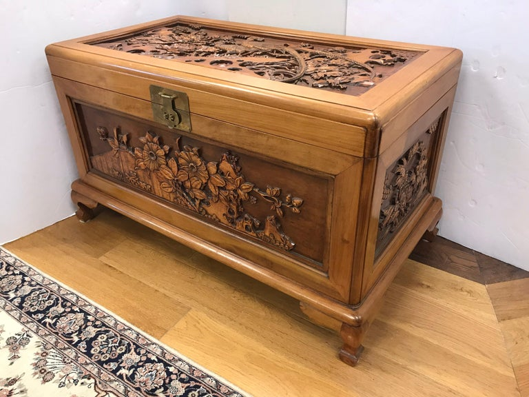 Carved Chinese Trunk Box For Sale 2