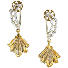 Carved Citrine and Diamond Wing Earrings, 14 Karat Gold