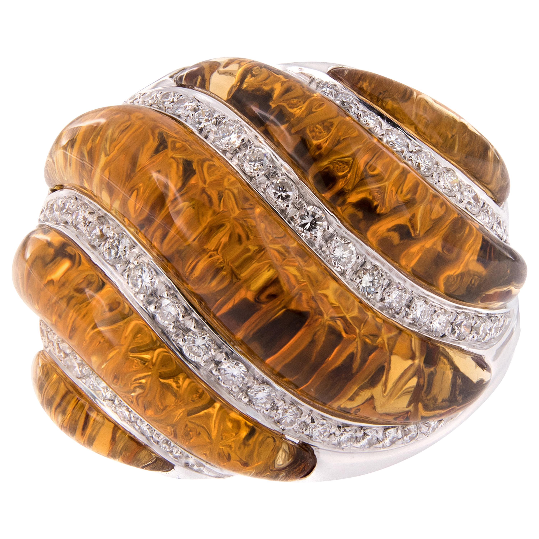 Carved Citrine Diamond 18 Karat Gold Dome Cocktail Ring