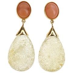 Carved Citrine Drop Opal 18 Karat Gold Earrings