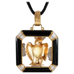 Carved Citrine Eagle Pendant with Diamonds and Onyx