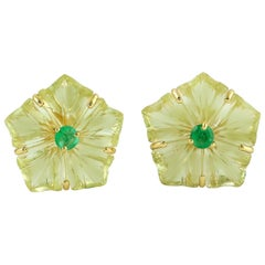 Carved Citrine Emerald 18 Karat Gold Flower Stud Earrings