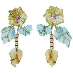 Carved Citrine Topaz 18 Karat Gold Earrings