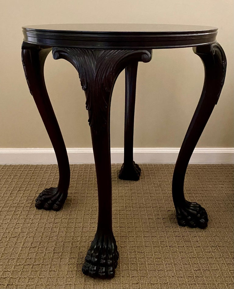 George II Carved Claw Paw Foot Acanthus Leaf Side End Table by Hickory Chair For Sale